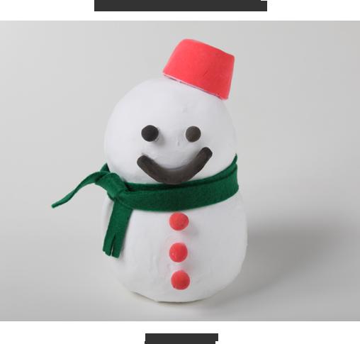 【完成イメージ】例)雪だるま貯金箱をつくろう