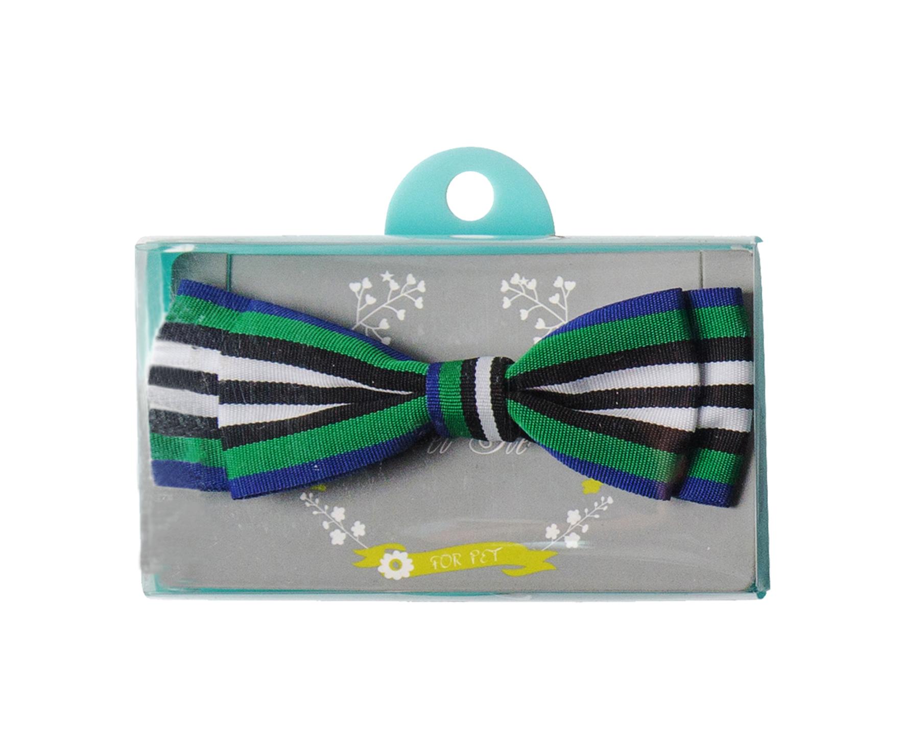 蝶ネクタイ(ボーダー・グリーン×ホワイト) Bow tie (Striped Green x White)